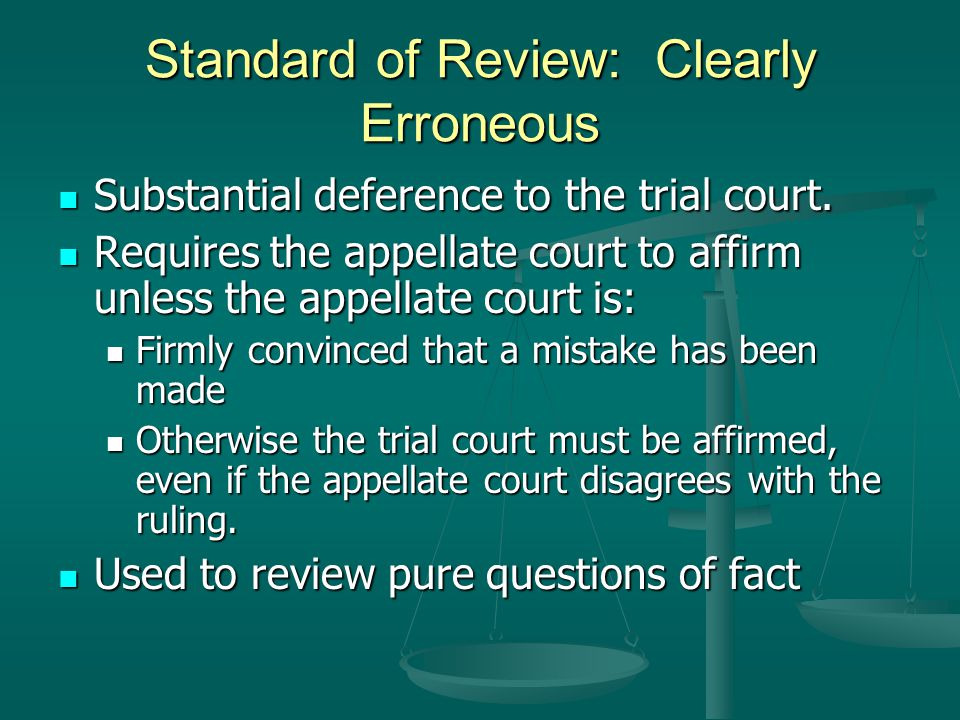 Standard of Review: Clearly Erroneous