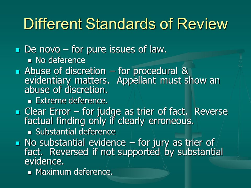 Different Standards of Review