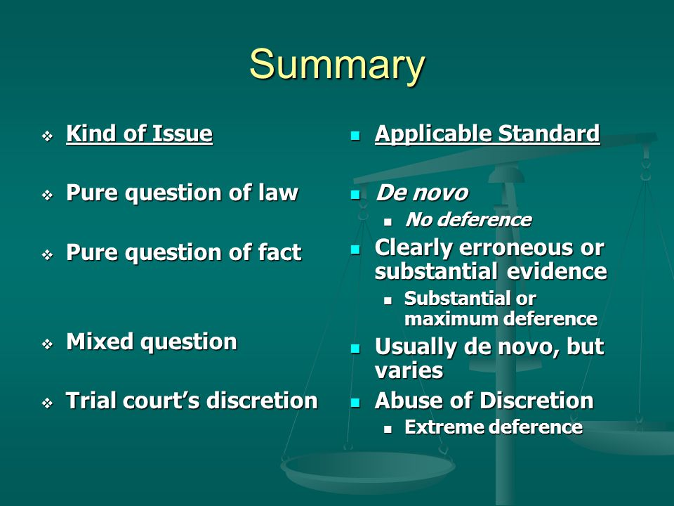 Summary Kind of Issue Pure question of law Pure question of fact