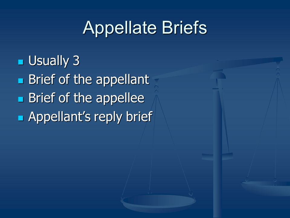Appellate Briefs Usually 3 Brief of the appellant