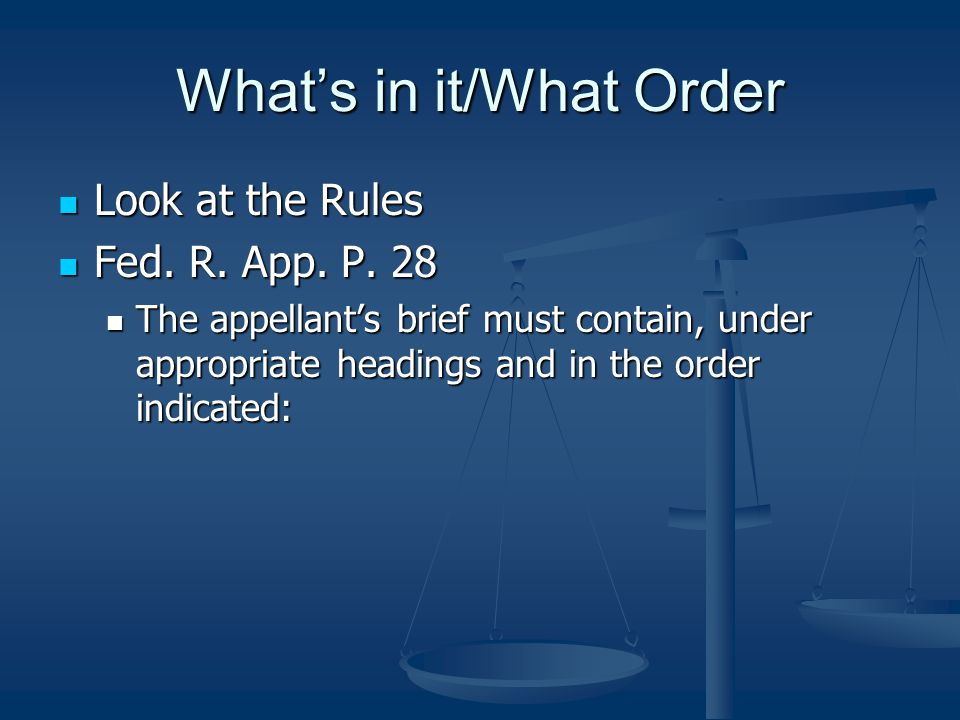 What's in it/What Order