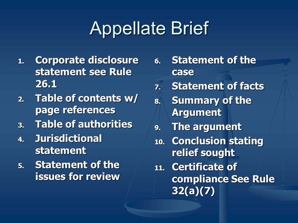 Appellate Brief Corporate disclosure statement see Rule 26.1