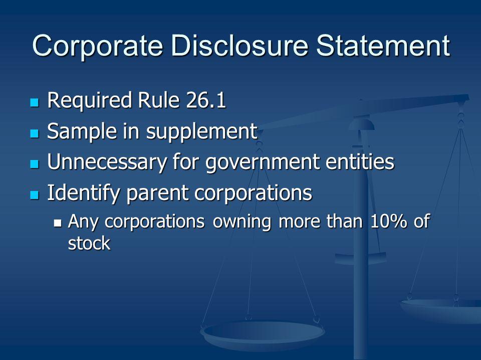 Corporate Disclosure Statement