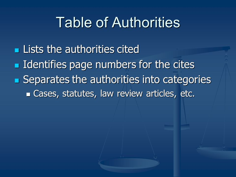 Table of Authorities Lists the authorities cited