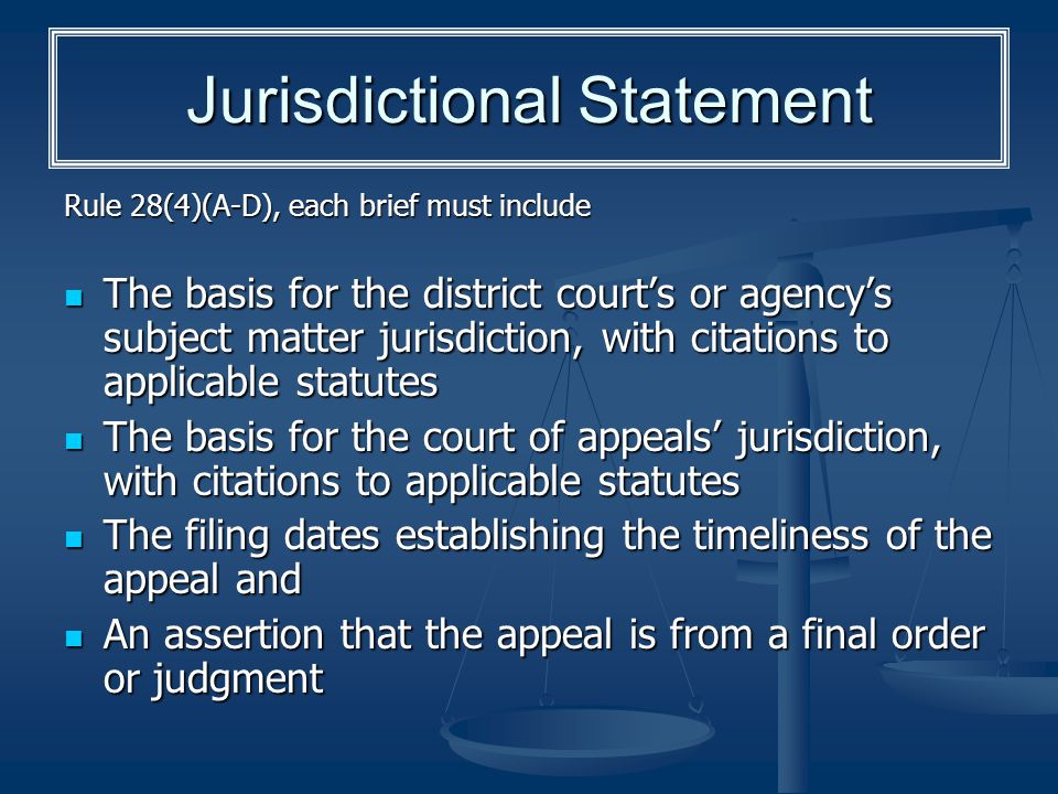 Jurisdictional Statement