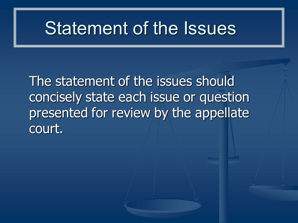 Statement of the Issues
