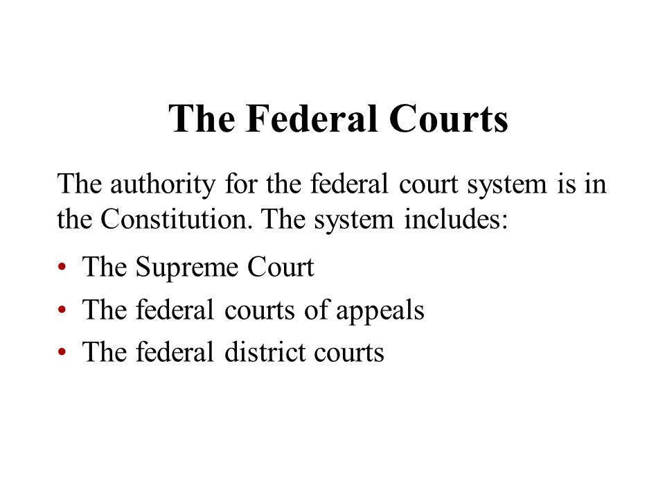 The Federal Courts The authority for the federal court system is in the Constitution. The system includes: