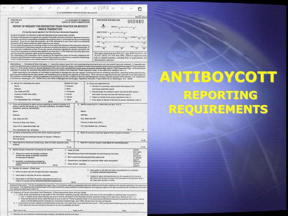 ANTIBOYCOTT REPORTING REQUIREMENTS