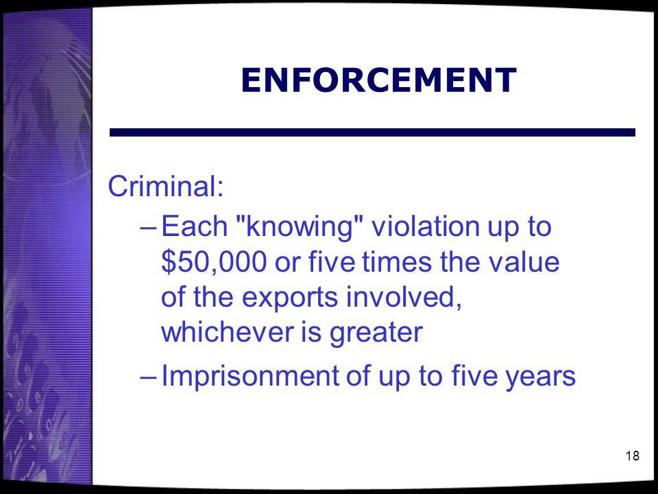 ENFORCEMENT Criminal: