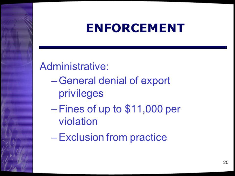 ENFORCEMENT Administrative: General denial of export privileges