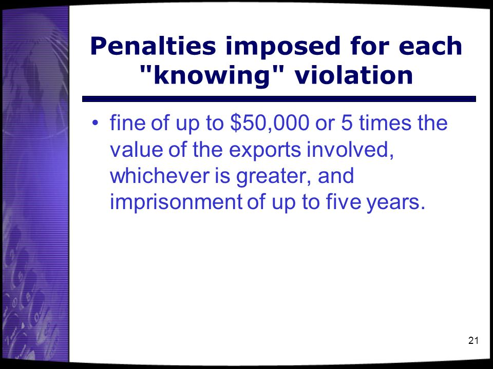 Penalties imposed for each knowing violation