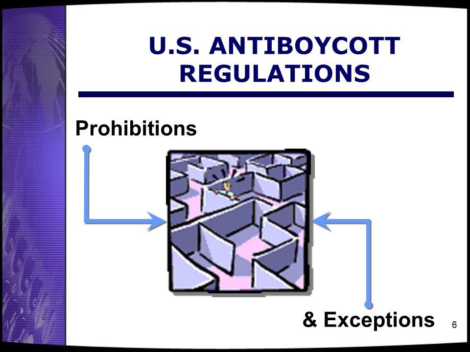 U.S. ANTIBOYCOTT REGULATIONS