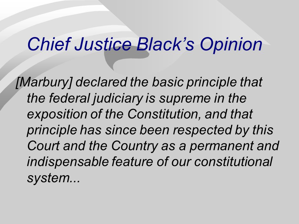 Chief Justice Black's Opinion