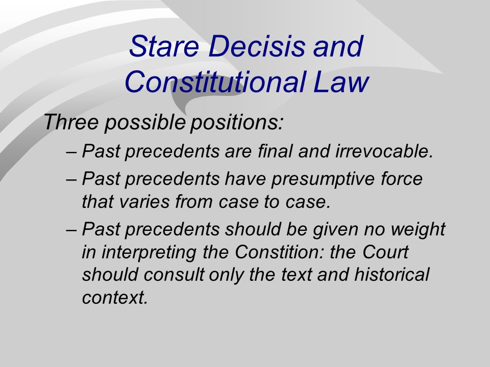 Stare Decisis and Constitutional Law