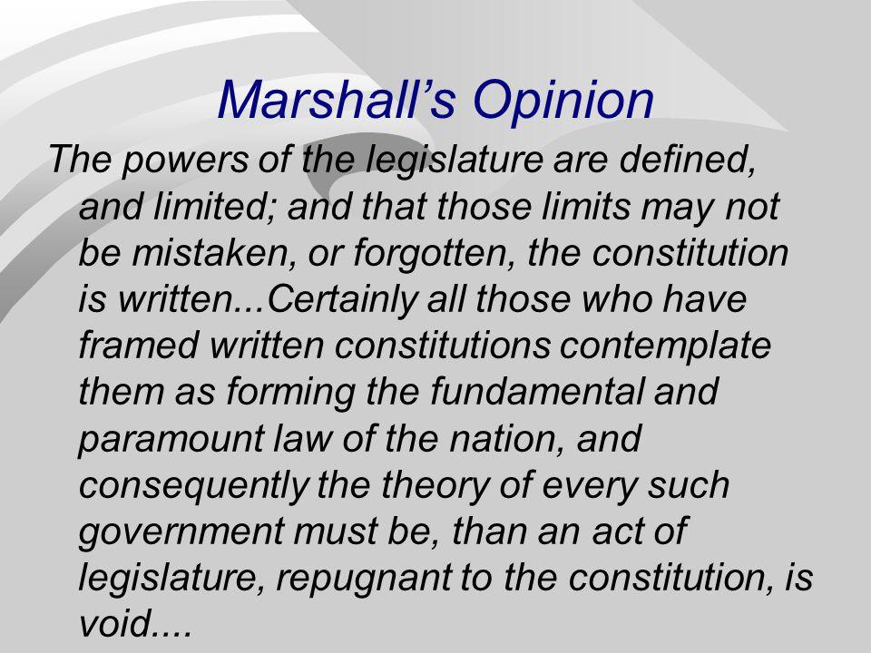 Marshall's Opinion