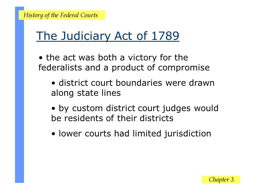 The Judiciary Act of 1789 the act was both a victory for the federalists and a product of compromise.
