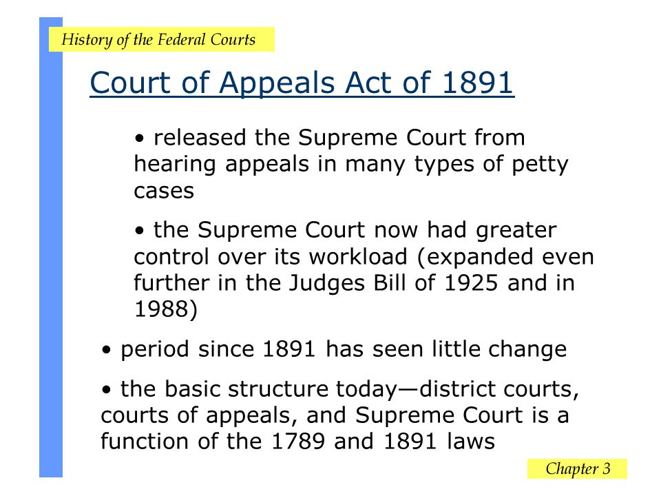 Court of Appeals Act of 1891 released the Supreme Court from hearing appeals in many types of petty cases.