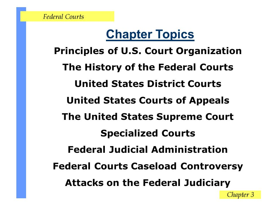 Chapter Topics Principles of U.S. Court Organization