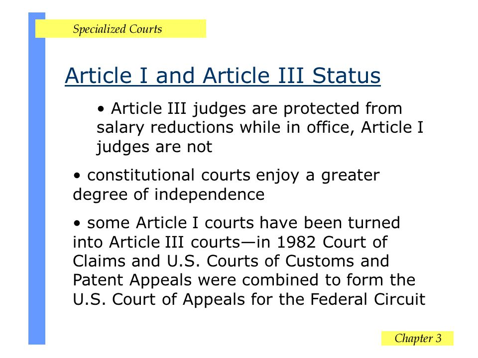 Article I and Article III Status