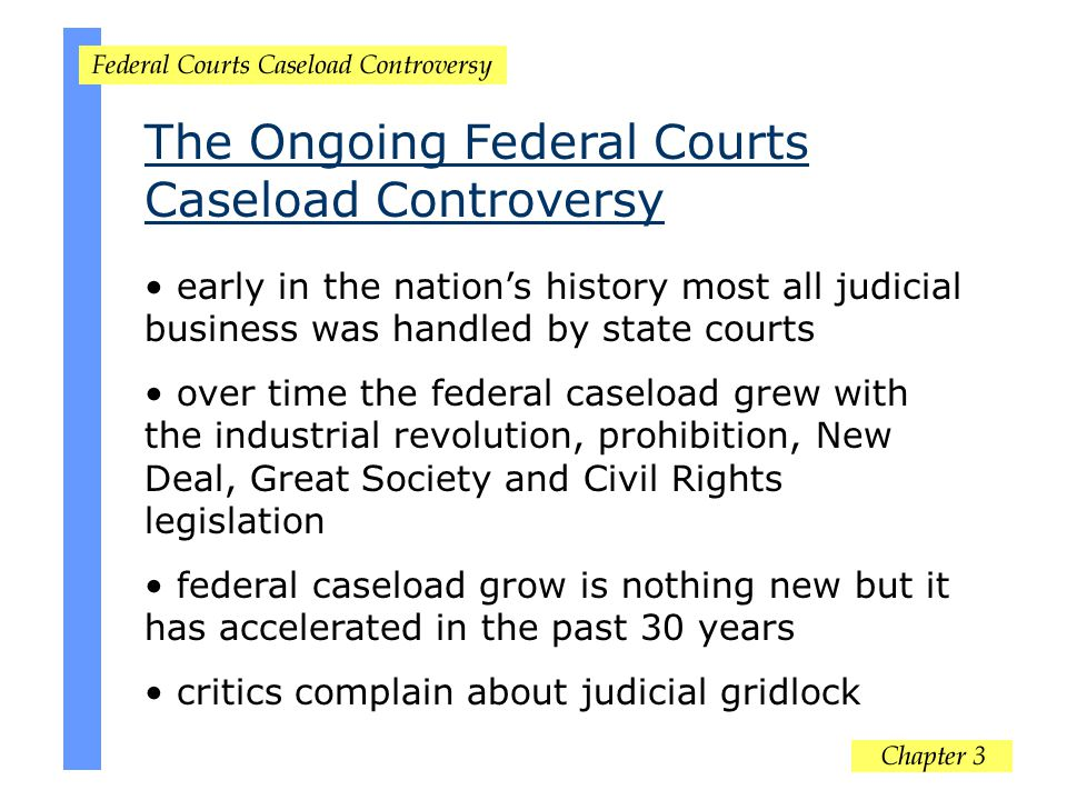 The Ongoing Federal Courts Caseload Controversy