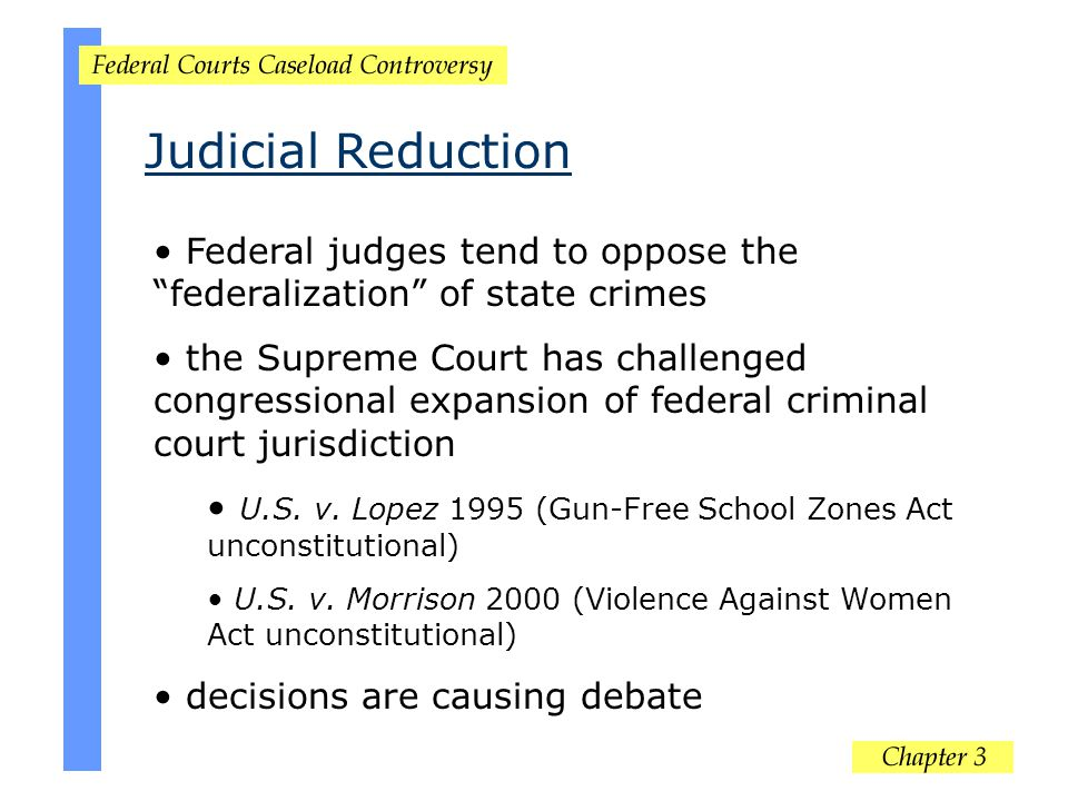 Judicial Reduction Federal judges tend to oppose the federalization of state crimes.