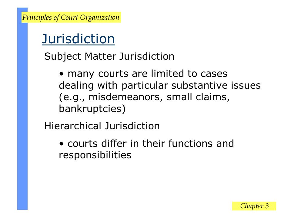Jurisdiction Subject Matter Jurisdiction