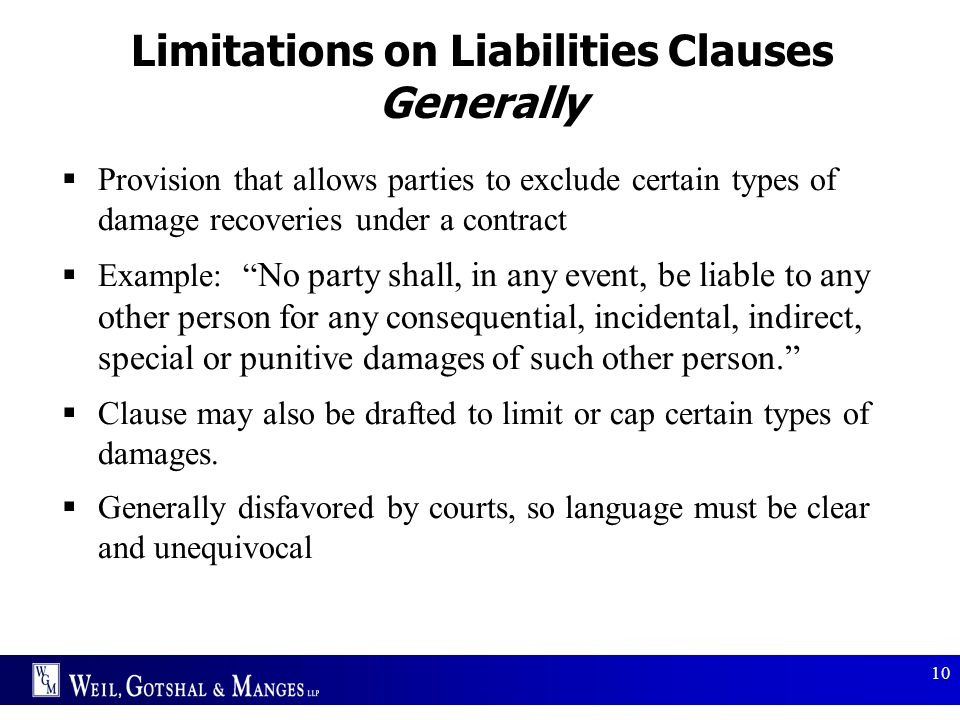 Limitations on Liabilities Clauses Generally