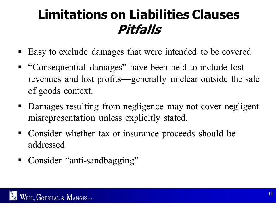 Limitations on Liabilities Clauses Pitfalls