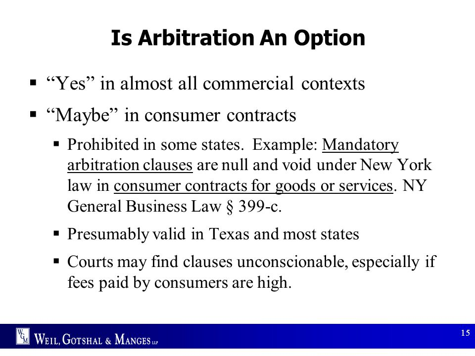 Is Arbitration An Option