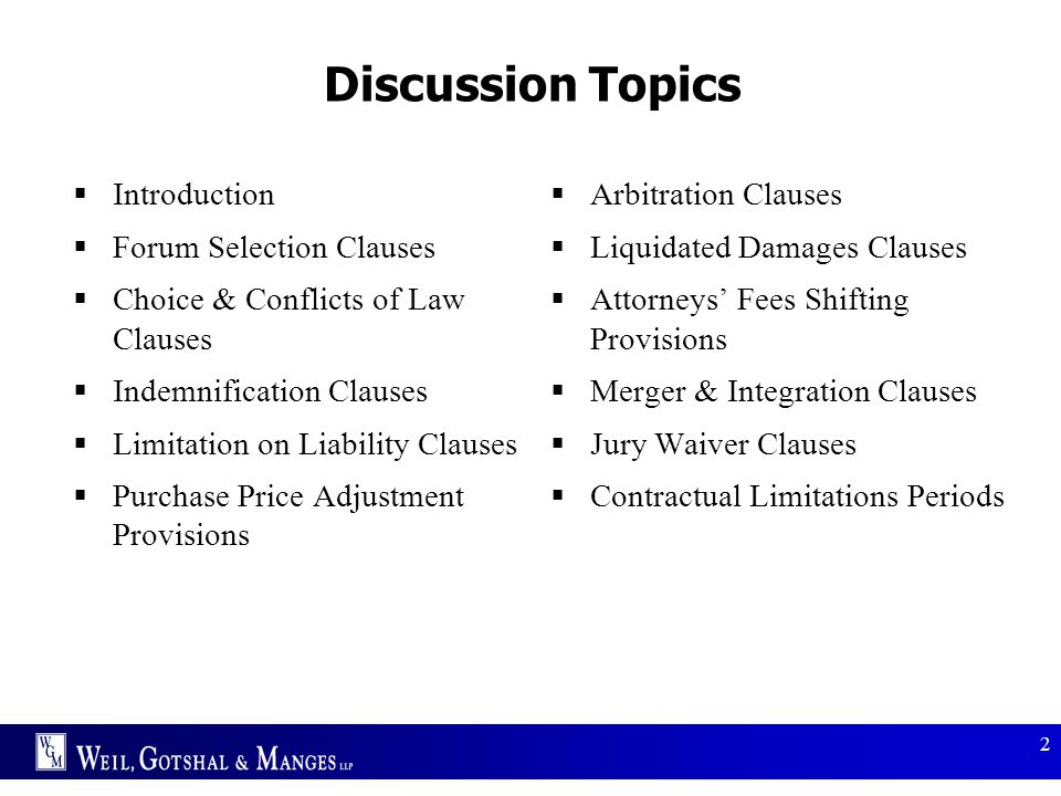 Discussion Topics Introduction Forum Selection Clauses