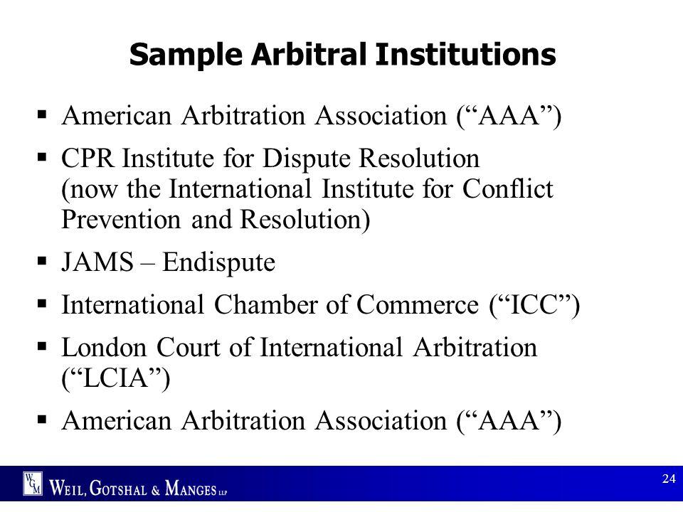 Sample Arbitral Institutions