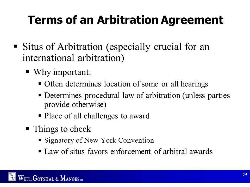 Terms of an Arbitration Agreement