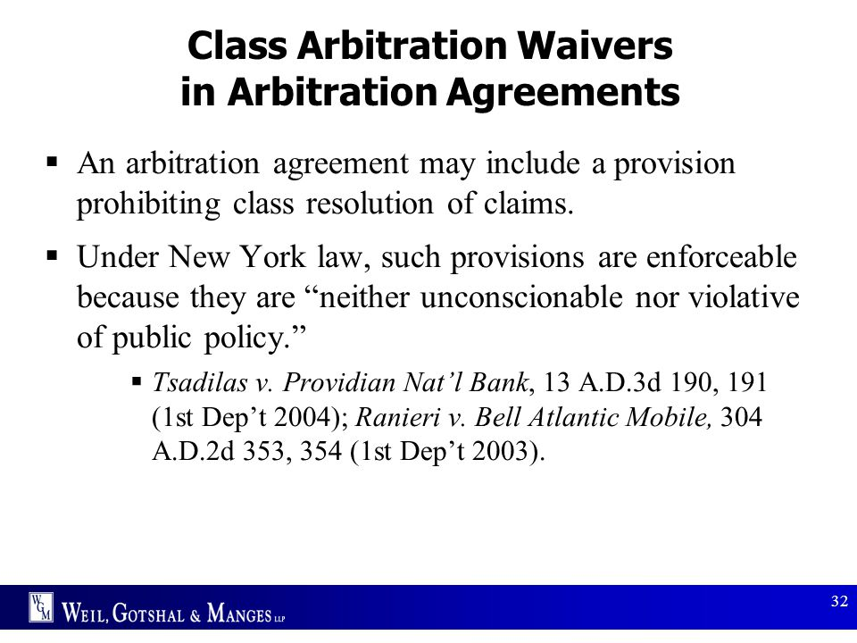 Class Arbitration Waivers in Arbitration Agreements