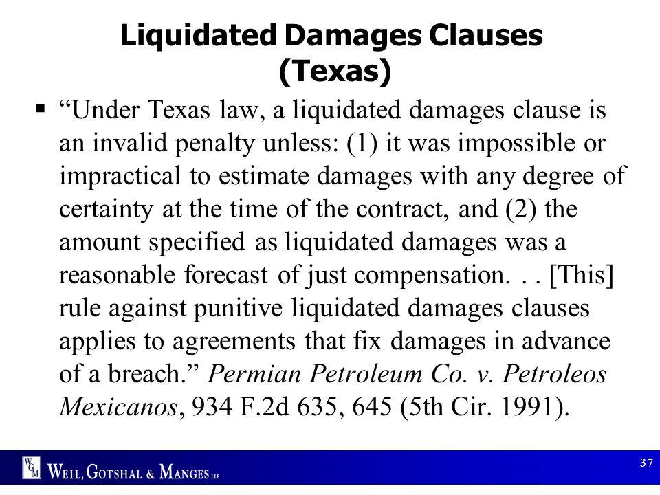 Liquidated Damages Clauses (Texas)