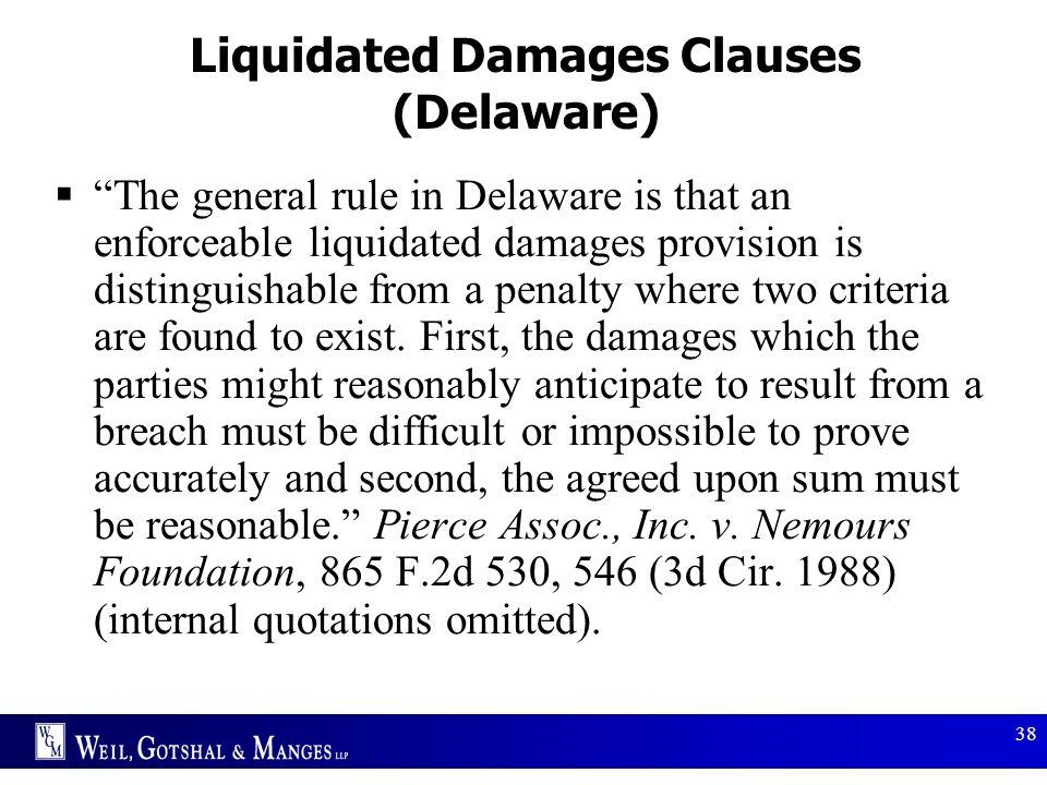 Liquidated Damages Clauses (Delaware)