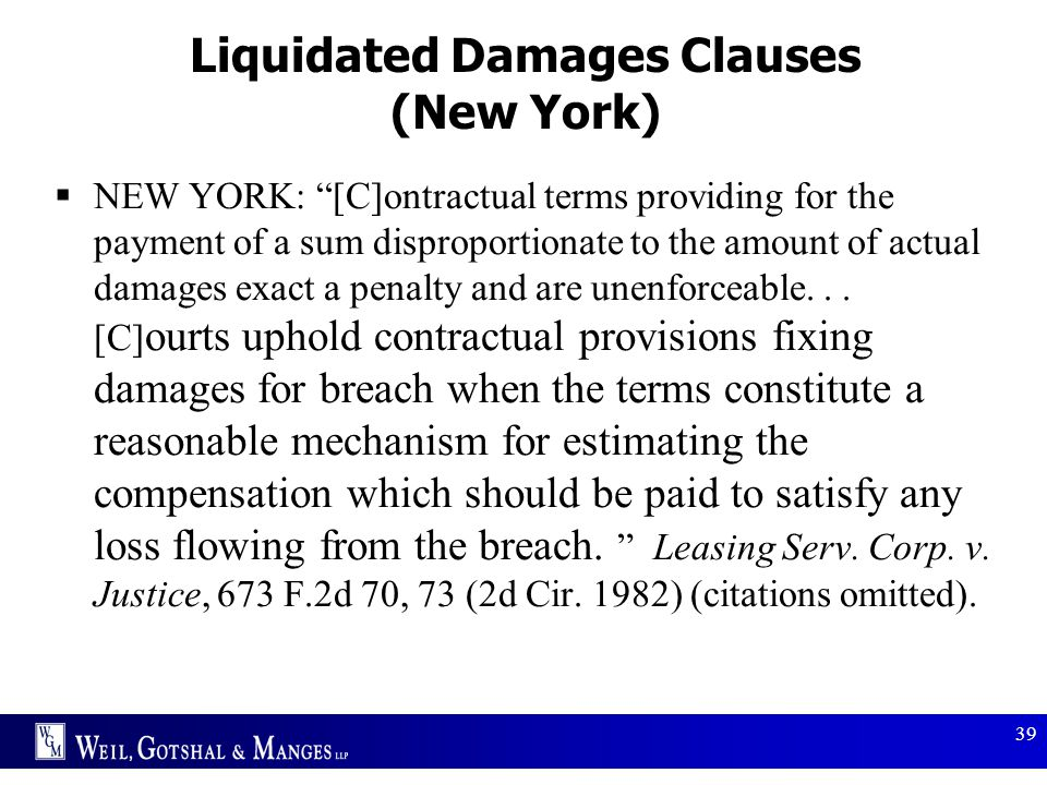 Liquidated Damages Clauses (New York)