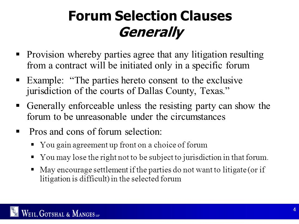 Forum Selection Clauses Generally