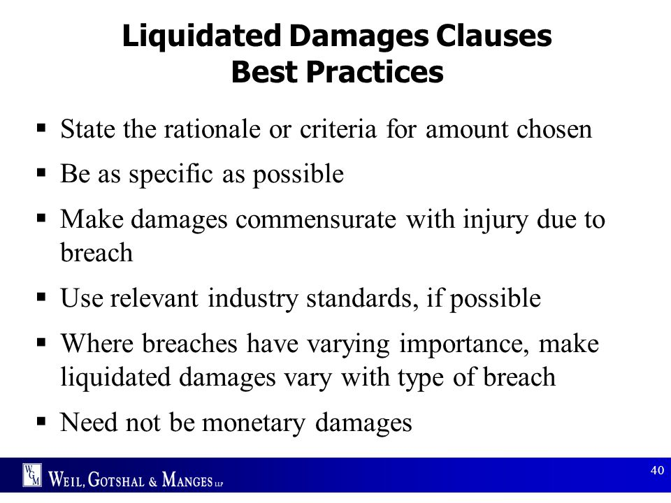 Liquidated Damages Clauses Best Practices