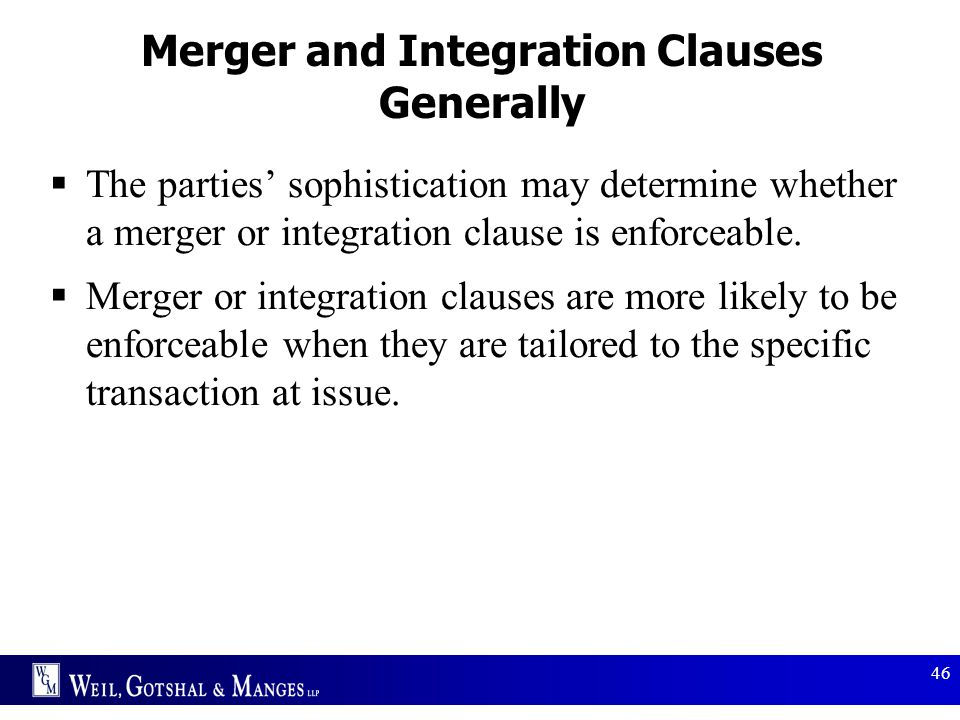 Merger and Integration Clauses Generally