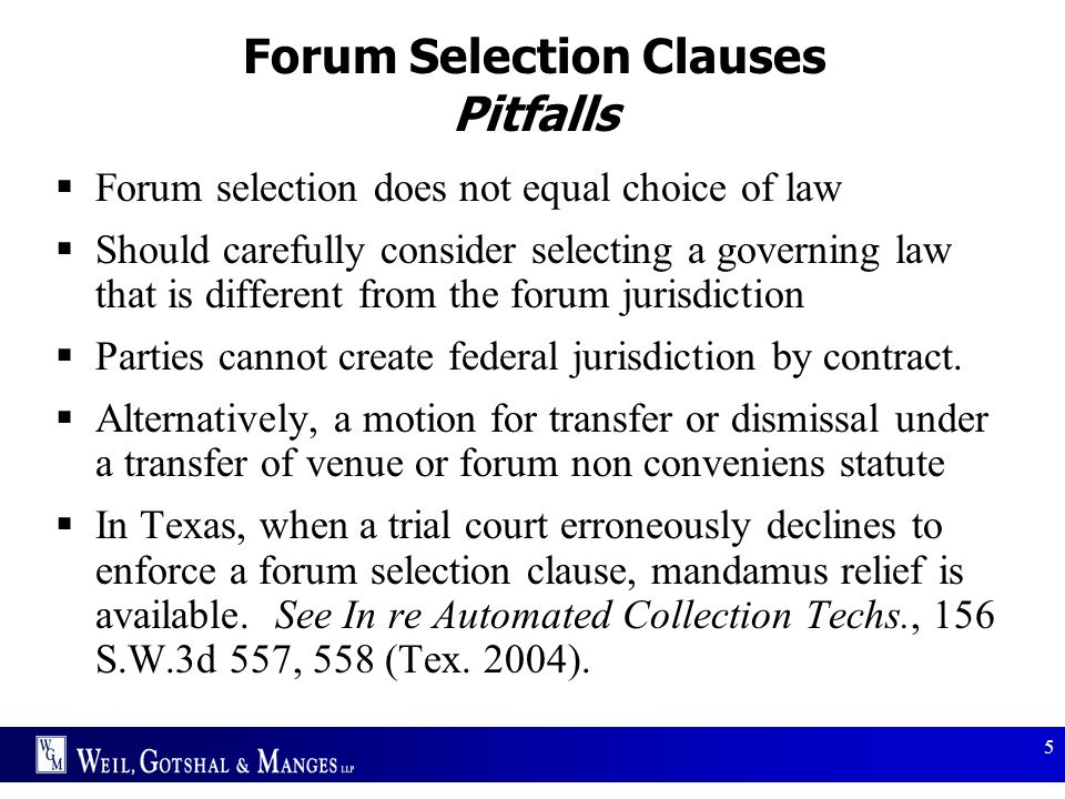 Forum Selection Clauses Pitfalls