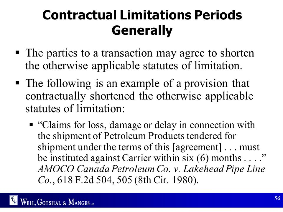 Contractual Limitations Periods Generally