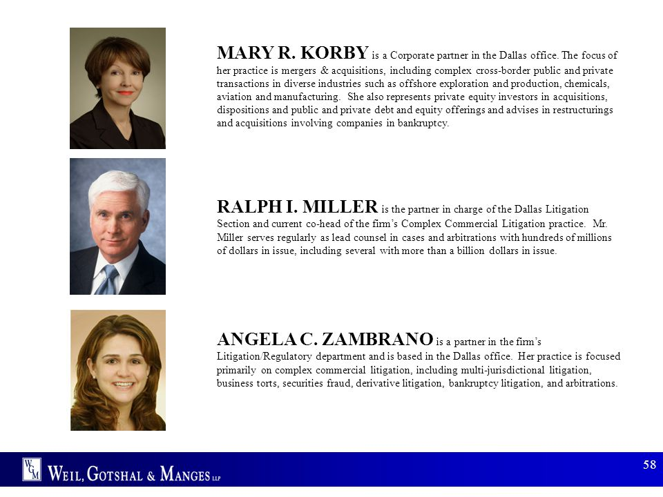 MARY R. KORBY is a Corporate partner in the Dallas office