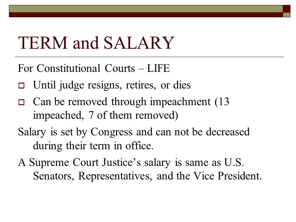 TERM and SALARY For Constitutional Courts – LIFE