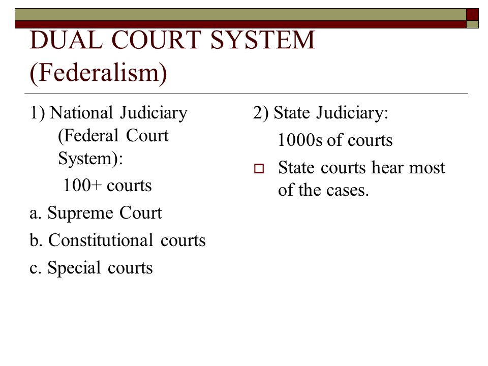 DUAL COURT SYSTEM (Federalism)