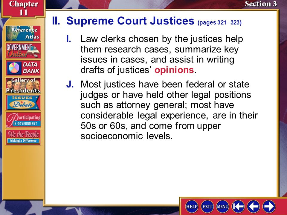 II. Supreme Court Justices (pages 321–323)