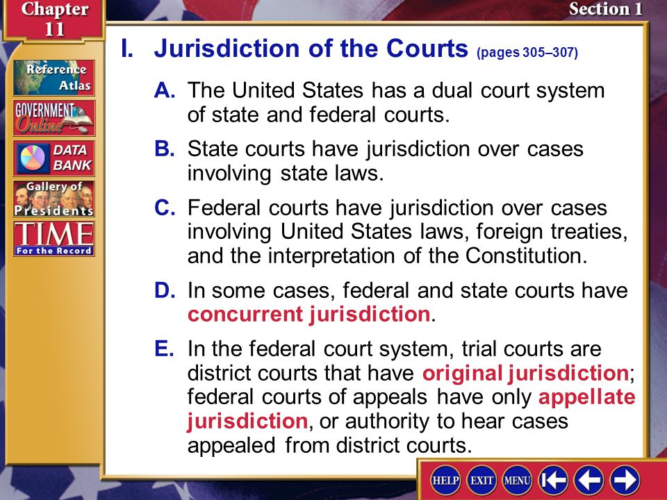 I. Jurisdiction of the Courts (pages 305–307)
