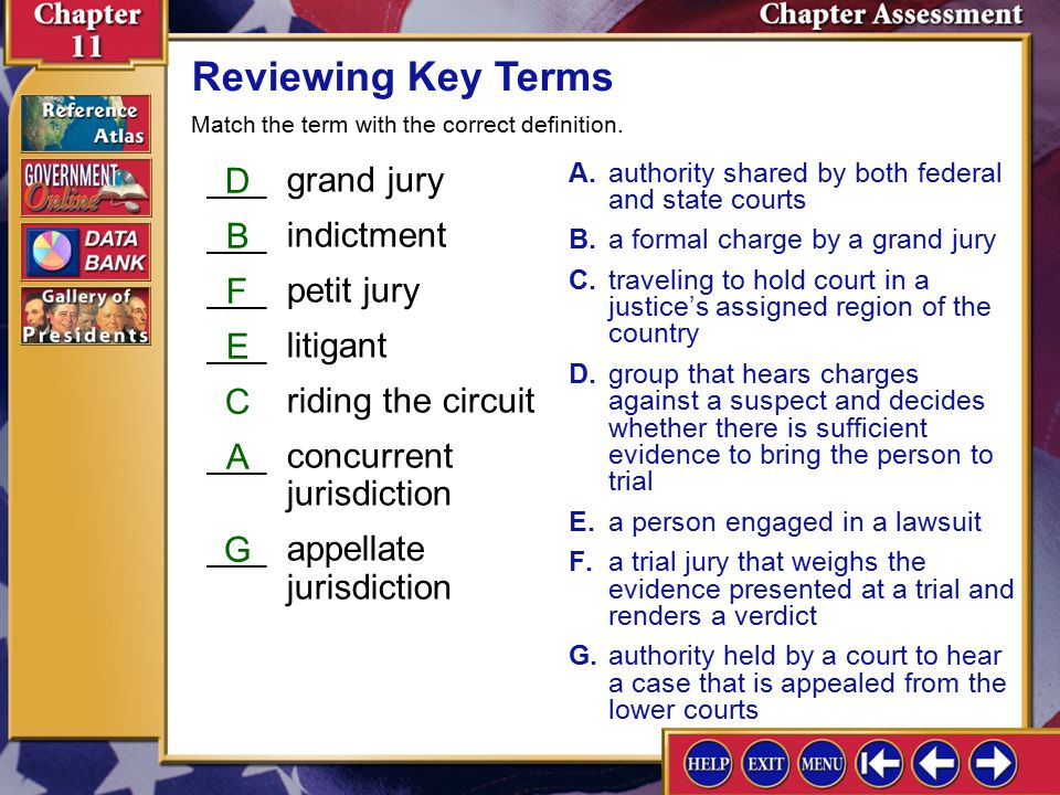 Reviewing Key Terms ___ grand jury D ___ indictment B ___ petit jury F