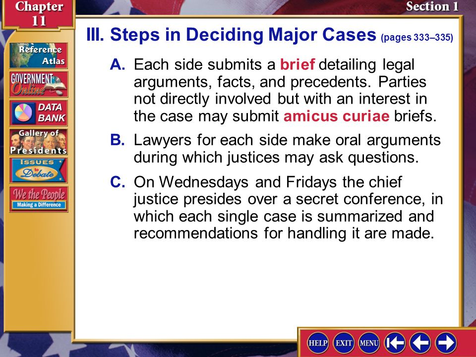 III. Steps in Deciding Major Cases (pages 333–335)
