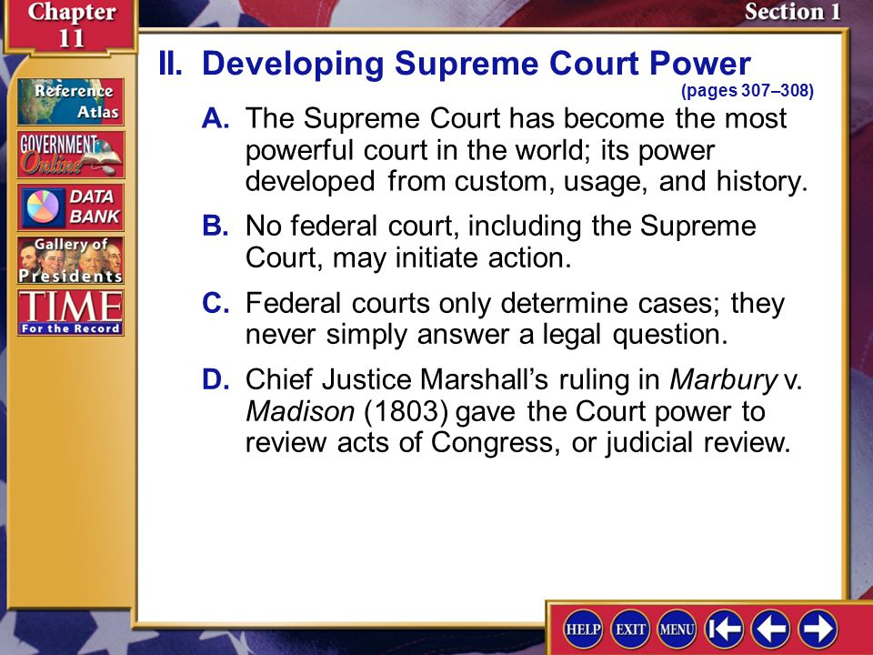 II. Developing Supreme Court Power (pages 307–308)