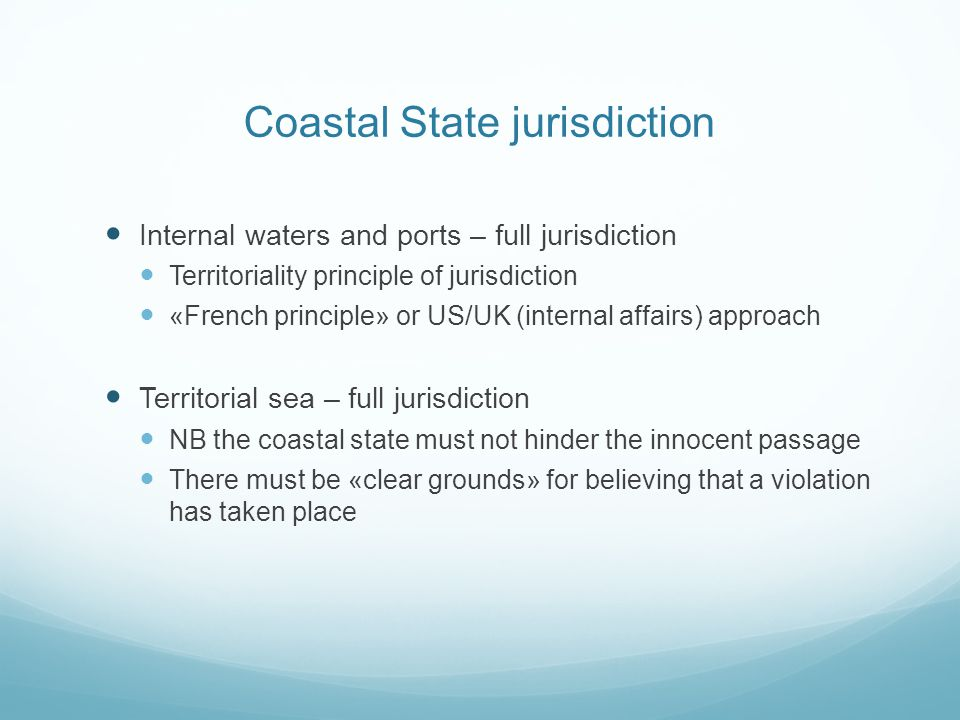 Coastal State jurisdiction